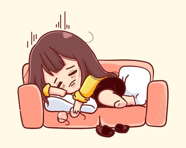 Junge geschäftsfrau fühlt sich erschöpft und überarbeitet, stress durch überstunden-arbeitskonzept. cartoon-illustration