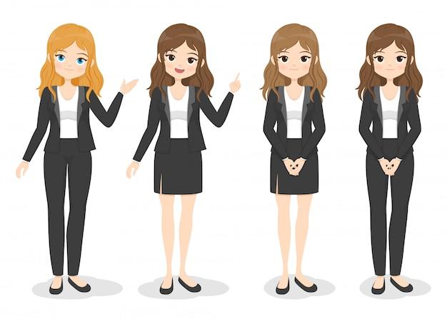 Junge geschäftsfrau in bürokleidung mit verschiedenen handhaltungen und haarfarbe. flaches cartoon-mädchen in formeller uniform (kleid, hose, anzug).