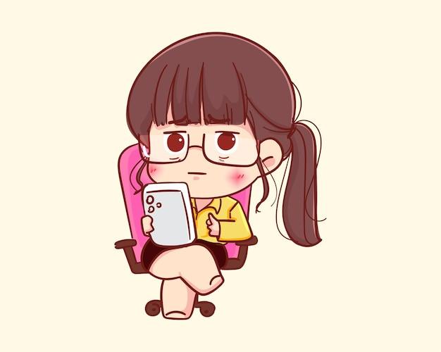 Junge geschäftsfrau mit modernem telefon, das auf stuhlkarikaturillustration sitzt