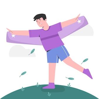 Junge glücklich fliegen wie flugzeug für weltkindertag
