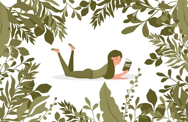 Junge glückliche frau, die ein buch liest, das durch flache illustration der grünen blätter umgeben ist. blumenrandrahmen.