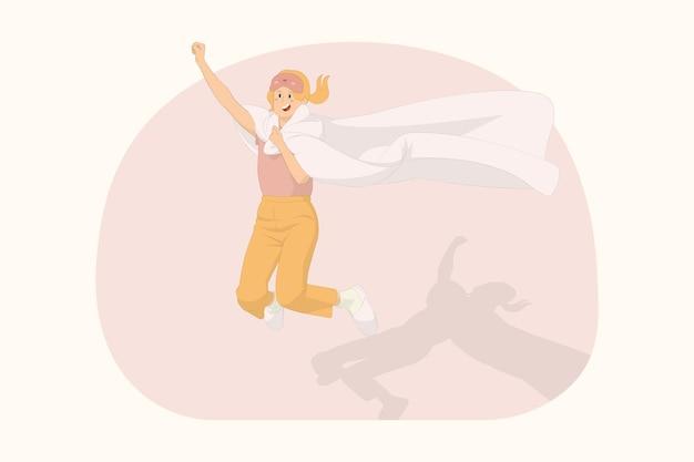 Junge glückliche frau, die sich zu hause entspannt, springt hoch fliegende geste im deckenbettkonzept ein