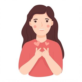 Junge glückliche frau mit dem koreanischen liebesfinger