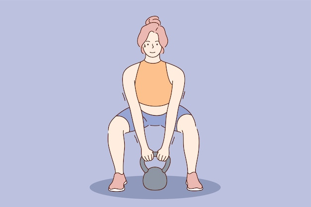 Junge glückliche lächelnde starke frau mädchenathlet-karikaturfigur, die übungen mit kesselglocke macht. gewichtheben cross fit und gesunder aktiver lebensstil.