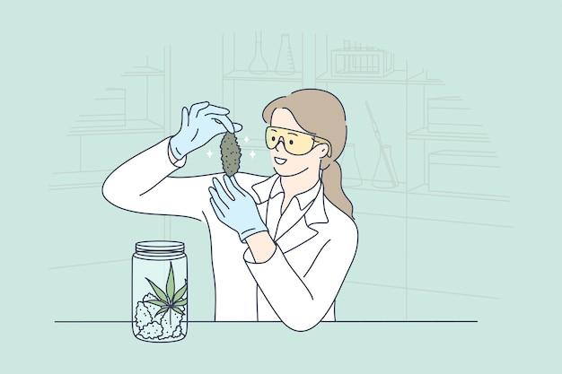 Junge glückliche lächelnde wissenschaftlerin des medizinischen arbeiters karikaturfigur, die cbd unkraut im labor erforscht