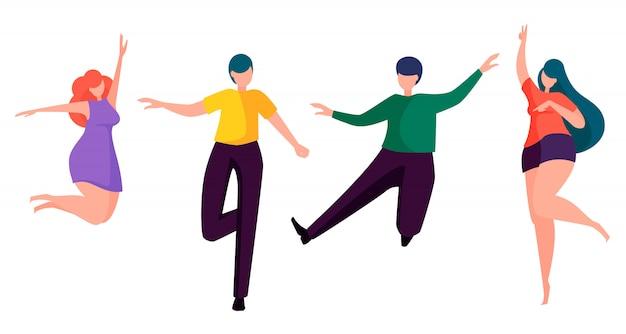 Junge glückliche leute, die satz von vier haltungen tanzen