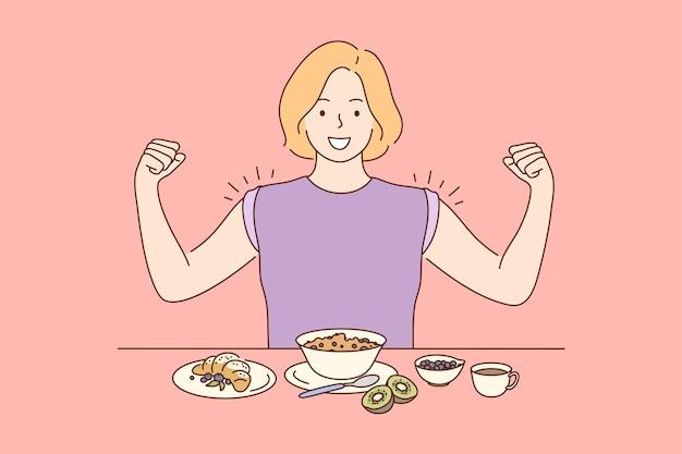 Junge glückliche miling fröhliche frau mädchen zeichentrickfigur, die frühstück abendessen mittagessen abendessen zeigt muskeln zeigt. diät gesunden lebensstil abnehmen illustration.