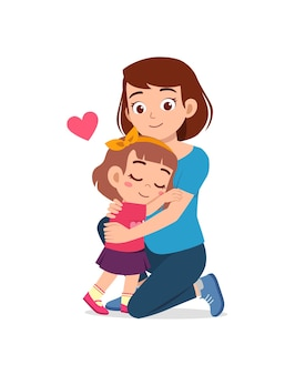 Junge glückliche mutter umarmt süßes kleines mädchen