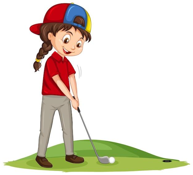Junge golfspieler-zeichentrickfigur, die golf spielt