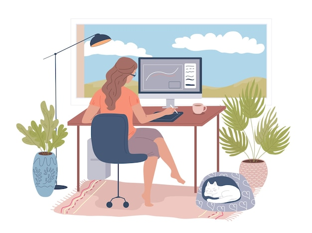 Junge grafikdesignerin arbeitet im homeoffice
