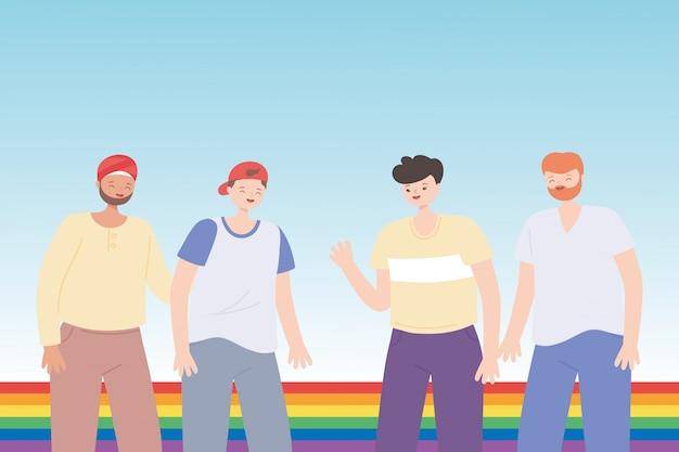Junge gruppe mit regenbogenfahne