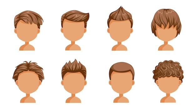 Junge haare gesetzt. gesicht eines kleinen jungen. nette frisur. kindermoderne mode der vielzahl für zusammenstellung. langes, kurzes, lockiges haar. salonfrisuren und modischer haarschnitt des mannes