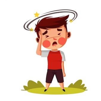 Junge haben kopfschmerzen und sorgen können ihn infizieren