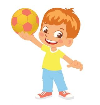 Junge hält fußball