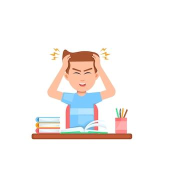 Junge hält seinen kopf wegen schwindel während des lernens