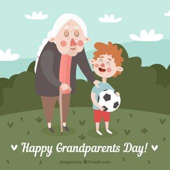 Junge hat einen spaziergang mit seiner großmutter