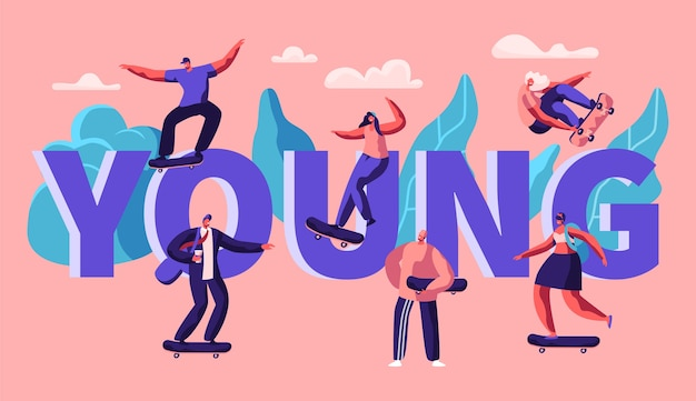 Junge hipster charakter skate skateboard typografie banner. skater man auf longboard cool freedom lifestyle. horizontales plakat der städtischen sportwerbung. flache karikatur-vektor-illustration