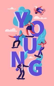 Junge hipster menschen skaten skateboard typografie poster. skater girl auf longboard modern freedom lifestyle. vertikales banner der städtischen stadt-sportwerbung. flache karikatur-vektor-illustration
