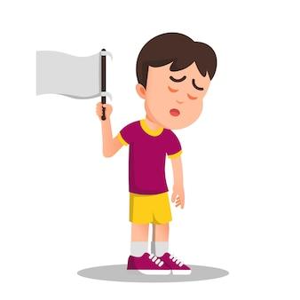 Junge hisst eine weiße fahne als zeichen der kapitulation