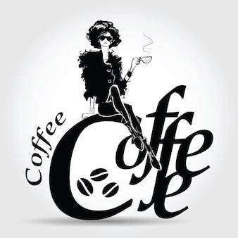 Junge hübsche frau, die kaffee trinkt. vektor-illustration.