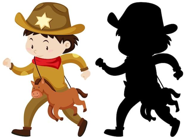 Junge im cowboykostüm in der farbe und in der silhouette