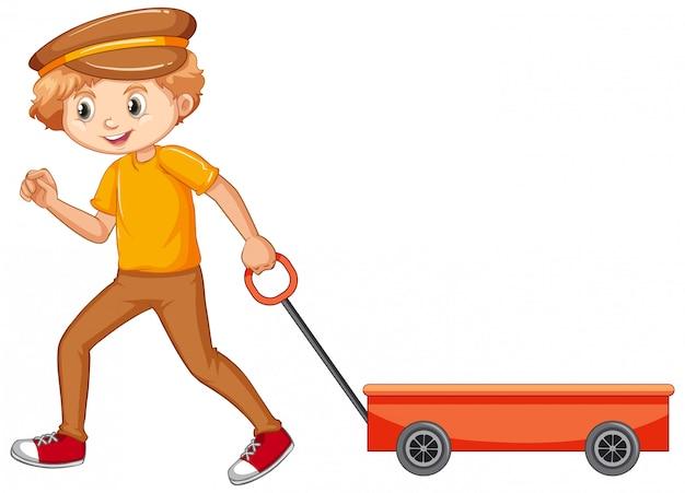 Junge im gelben hemd, das lastwagen zieht