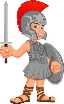 Junge im kostüm eines römischen soldaten