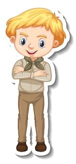 Junge im safari-outfit-cartoon-charakter-aufkleber Kostenlosen Vektoren