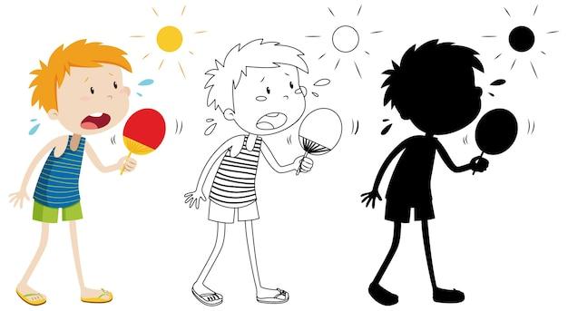 Junge im sommerwetter mit seinem umriss und der silhouette