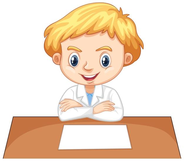 Junge im wissenschaftlichen kleid auf weißem hintergrund