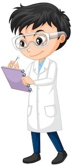 Junge im wissenschaftsgewand, das auf lokalisiertem hintergrund schreibt
