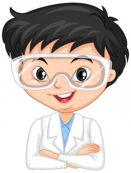 Junge im wissenschaftskleid auf lokalisiert