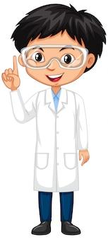 Junge im wissenschaftskleid