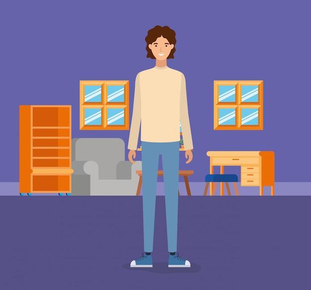 Junge im wohnzimmer