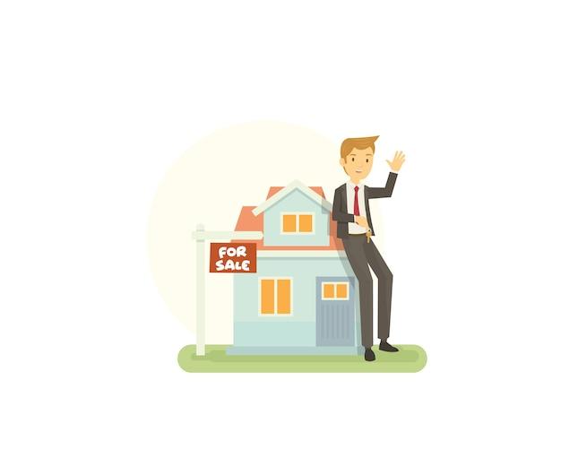 Junge immobilienmakler bieten dem käufer ein neues haus zum verkauf an