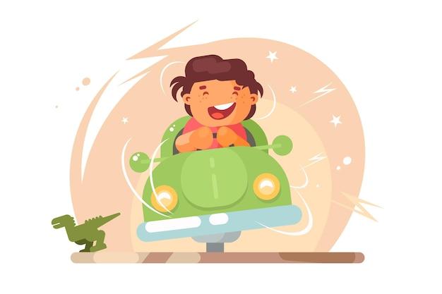 Junge in der spielzeugautoillustration. lächelnder kleiner junge, der mit dem auto fährt