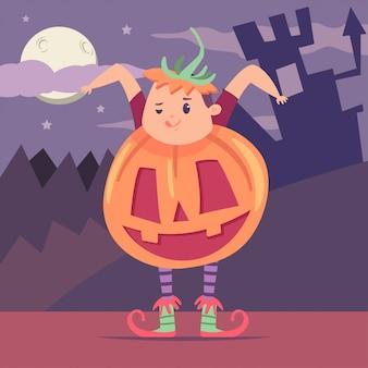Junge in einem kürbiskostüm neben einer burg und einem wald. flache kinderfigur des halloween-vektorkarikatur.
