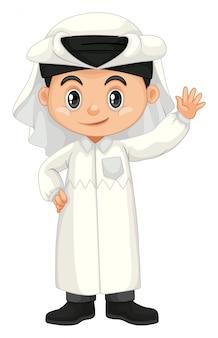 Junge in wellenartig bewegender hand des katar-kostüms