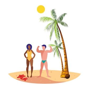 Junge interracial paar am strand sommerszene