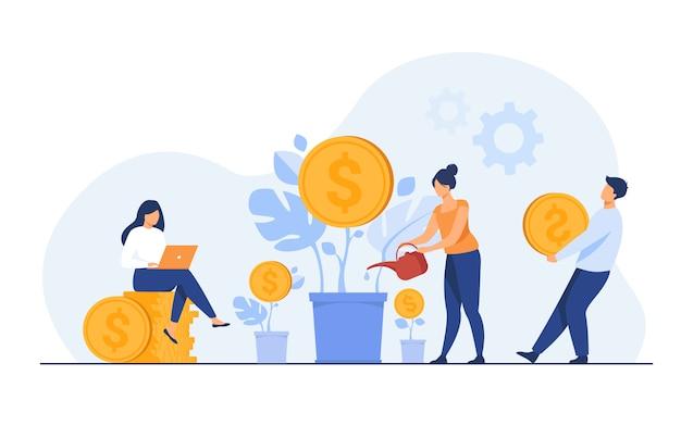 Junge investoren, die für gewinn, dividende oder umsatz arbeiten