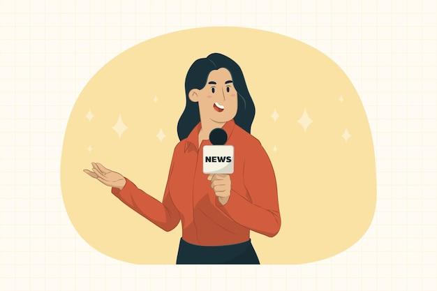 Junge journalistin berichtet konzept