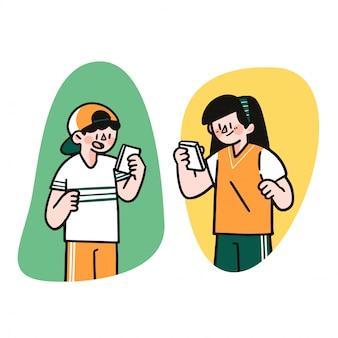Junge jungen und mädchen textnachricht chat app doodle draw illustration character asset von arkana studio