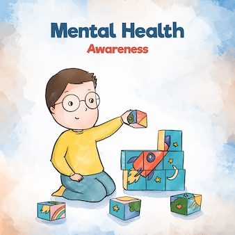 Junge jungengebäude des bewusstseins für psychische gesundheit mit spielzeug