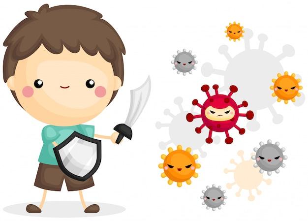Junge kampf mit virus