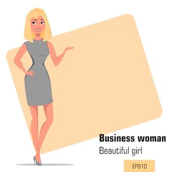 Junge karikaturgeschäftsfrau, die strenges graues kleid trägt