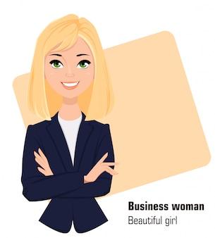 Junge karikaturgeschäftsfrau