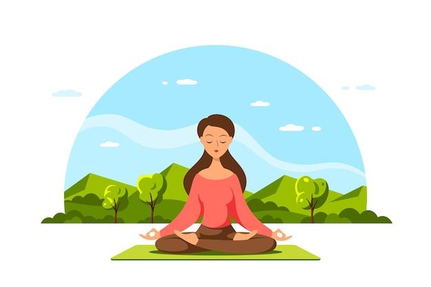 Junge kaukasische frau, die im lotussitz mit schöner landschaft sitzt. praxis von yoga und meditation.