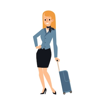 Junge kaukasische frau oder blondes stewardessmädchen. ein stewardess-mädchen in blauer uniform mit schal steht, lächelt und hält koffer und gepäck. illustration einer stewardess.