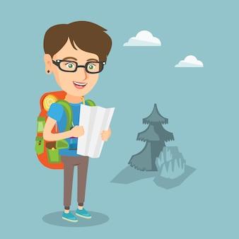 Junge kaukasische reisendfrau, die karte betrachtet.