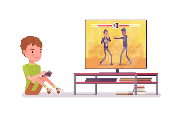 Junge kind 7-9 jahre alt, konsolenspiel männliches kind im schulalter